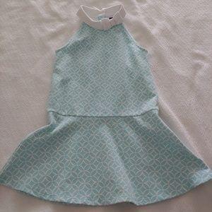 Janie & Jack white and aqua dress